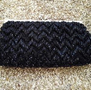 Valerie Stevens Beaded Evening Bag Clutch Black